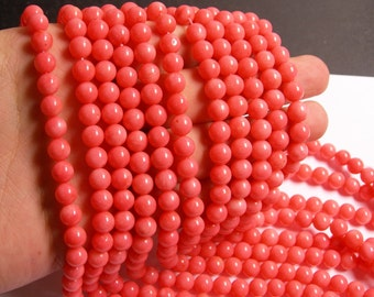 Coral - salmon pink - 8mm (7.5mm) round bead - 1 full strand - AA quality - 54 beads - RFG473
