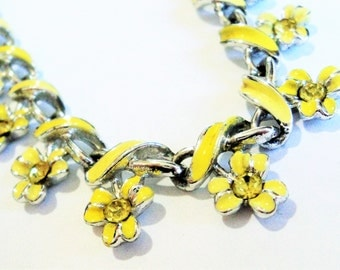 Bright Yellow Flower Necklace... c.1960s... Diamante and Enamel