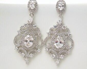 Bridal Chandelier Earrings Wedding crystal earrings bridal crystal earrings cubic zirconia statement bridal earrings vintage style  JILL