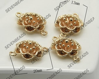 2pcs 24K Gold Plated Flower Brass Charm Pendant,13mmx20mm Connectors Jewelry Findings,metal brass spacers findings beads