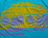 California Hipster Surfer T-Shirt, Palm Trees, Teal Surfing, Vintage 90s