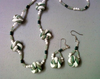 White, Dark Green and Sage Green Knot Necklace and Earrings (1087)