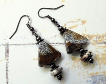 Black, Gray and Brown Triangular Stone Earrings (2469)