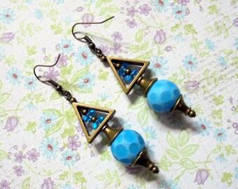 Spotted Aqua Blue Earrings (2512)