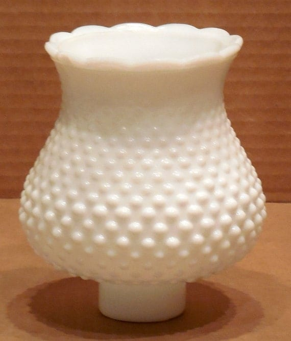 vintage set of 2 hobnail milk glass shades by