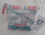 """HE.art by CC Sailboat Zippered Pouch, """"Tell Your Fears to Stay Home...and Take Your Dreams on an Adventure."""""""