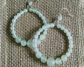 Natural Aquamarine Beaded Hoop Earrings