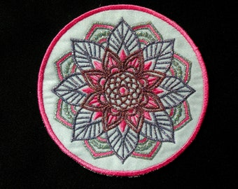 Lotus Medallion Iron on Patch 4.6 inch