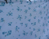 Pacific vintage twin flat sheet 72 x 108 truth muslin white background with pansy flowers in dark and light blue with army green leaves