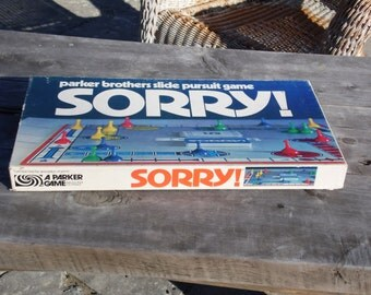 Vintage Sorry board game 1972 complete game with game board Sorry cards game pieces instructions Ready for Family game nite
