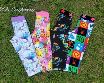Capri length leggings girl size 6 unicorns, Shopkins, Rainbow Dash, Avengers inspired