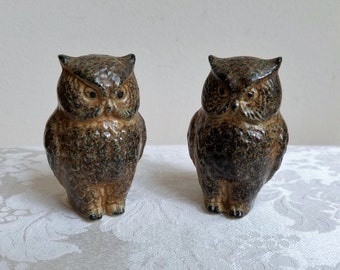 Vintage Owls Salt Pepper Shakers Ceramic Stoneware Pottery Pair Set, Brown Tan Black, Bohemian Woodlands