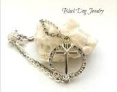 Silver Cross Bracelet - Silver Sideways Cross Bracelet - Sideways Cross  - Circle Cross Bracelet - Multi Chain Bracelet - Wire Wrap Cross