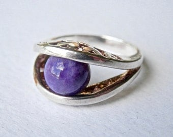 Abstract Modern Ring, Purple Amethyst, Signed Jewelry, Sterling Silver Ring, Size 5.5 Ring, February Birthstone, 925