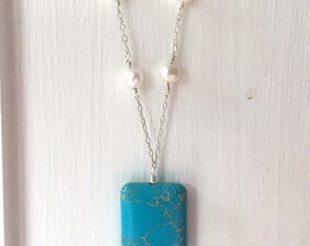 Blue Jasper and Freshwater Pearl Sterling Silver Necklace