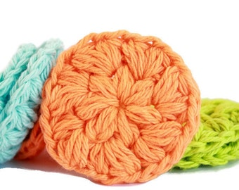 Crochet Face Scrubbie ~ Crochet Cotton Face Rounds in blue, green, yellow and orange.