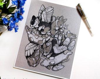 Corgi Pile | Flying Winged Dogs | Fantasy Illustration | Art Print | 8.5x11 | DISCONTINUED