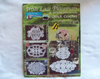 11 Irish Crochet Patterns Lace Place mats & Matching Runners Thread Crochet Doily Booklet leaflet Annie Potter Original Wild Irish Rose,
