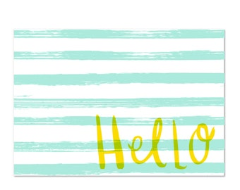 Hello - set of 8 boxed notecards