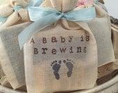 Boy Baby Shower Favors Fully Assembled Tea Bags Blue Set of 10