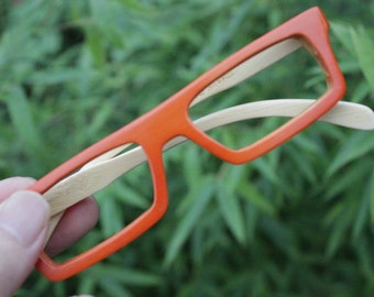 TAKEMOTO TAKE handmade  square  rorange bamboo  prescription eyeglasses  MJX1201 C0901