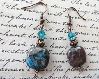 Dangling Blue And Brown Jasper Metal And Crystal Beaded Earrings