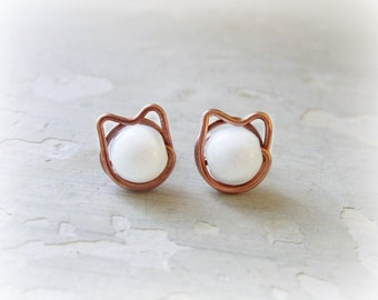 Cat Stud Earrings, Copper Wire Wrapped Posts, White Agate Studs, Kitty Cat, White Cat Earrings,Copper Stud Earrings, Crazy Cat Lady