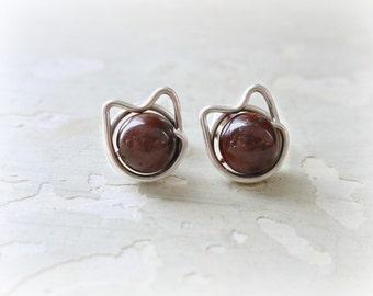 Cat Post Earrings, Brown Cat Earrings, Brown Stud Earrings, Red Tiger Eye Posts, Kitty Cat Earrings, Small Cat Earrings, Sterling Studs