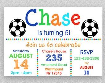 Soccer BIrthday Invitation , Soccer Invitation, Sports Birthday Invitation, Boys Birthday Invitation, Printed or Printable