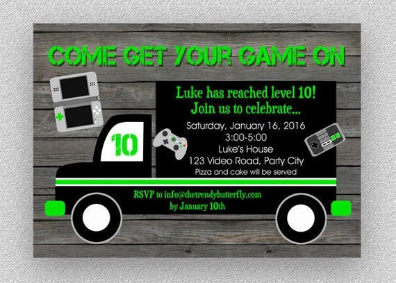 Video Game Birthday Invitation Gaming Birthday Invitation By The - Birthday invitation video
