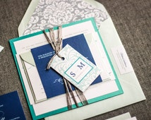 Teal Wedding Invitations, Blue Invitations, Navy Blue Wedding, Beach Wedding Invitations, Classic Romance - Flat Panel, 1 Layers, v2- SAMPLE