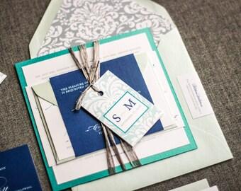 "Blue and Silver Wedding Invitations, Beach Wedding Invitations, Destination Invitation Suite, Formal Invites - ""Classic Romance"" FP-1L-v2"