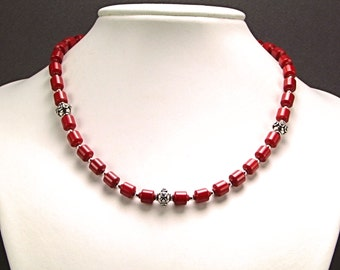 Red Coral & Sterling Silver Necklace - N165