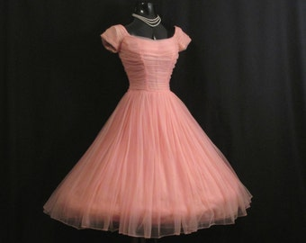 RESERVED *** Vintage 1950's 50s Coral Salmon Peach Pink Ruched Chiffon Organza Party Prom Wedding Dress Gown