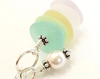 Beach Glass Necklace, Sea Glass Jewelry, Pearl Jewelry, GENUINE Sea Glass Necklace In Pastels, Seaglass Necklace, Beach Necklace