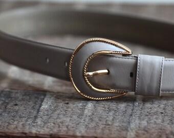 24-26 Gray Mauve Vintage Belt with Gold Trim