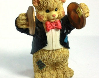 Hobo Bear Band Cymbal Player - Tuxedo Figurine - 1990s