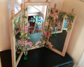 Vintage TriFold Vanity Mirror/Hand Painted
