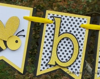 Little Bee Pennant Baby Banner in Yellow, Black, and White