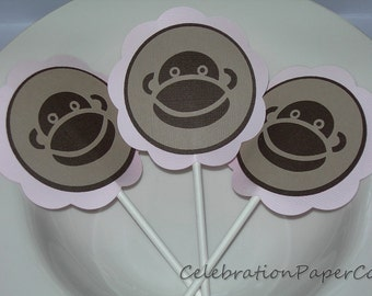Sock Monkey Cupcake Toppers Pink READY TO SHIP