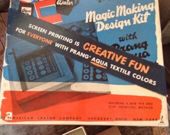 Vintage Prang Screen Printing Magic Making Design Kit