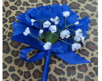 Royal Blue Silk Carnation Boutonniere, Blue Boutonniere, Royal Boutonniere