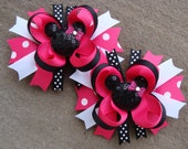 TWO Pink Disney Hair Bows Mickey Mouse Hair Bows Minnie Mouse Hair Bow Medium Boutique Hair Bows