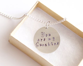 You Are My Sunshine Necklace Silver Plated, Sunshine Jewelry,  Children's Jewelry, Girls Gift, Birthday Gift, Flower Girl Gift