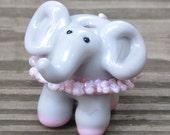 Pink Tutu Ballerina Gray Grey Elephant Lampwork Glass Handmade SRA NLC Beads leteam