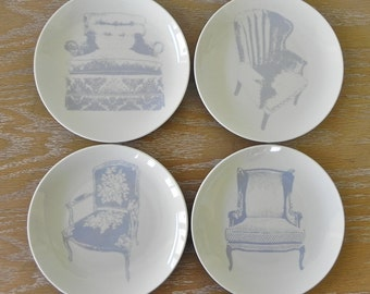Dessert Plates Trinket Dish Upholstered Chair Queen Anne Wing Chair Interior Design Decorator Home Decor Accessory Country Home City Home.