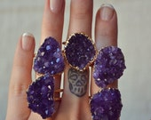 VALENTINES SALE MEDIO Galaxy  /// Amethyst Cluster /// Gold Electroformed Ring
