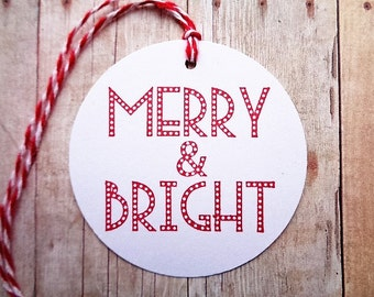 Merry & Bright Christmas Tags Minimalist Holiday Tag Red and White