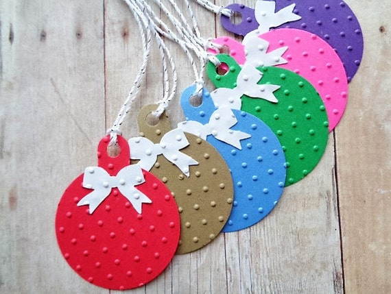 Christmas Gift Tags Embossed Red Brown Kraft Blue Green Pink Purple