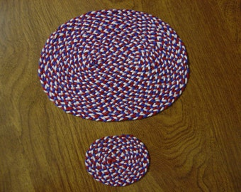 Dollhouse Red White Blue braided rug full scale and/or half scale